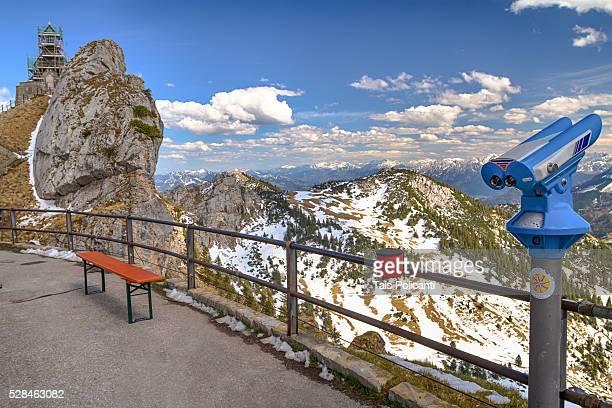 Terrace with Binocular viewer in Wendelstein Mountain in Bayrischzell, Bavaria, Germany
