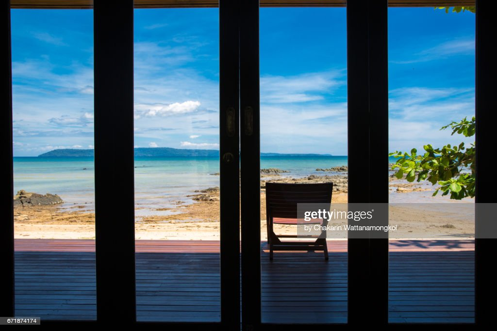 Terrace with Sea View and Blue Sky : Stock-Foto