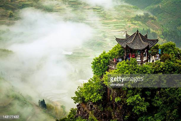 terraced fields - chinese culture stock pictures, royalty-free photos & images