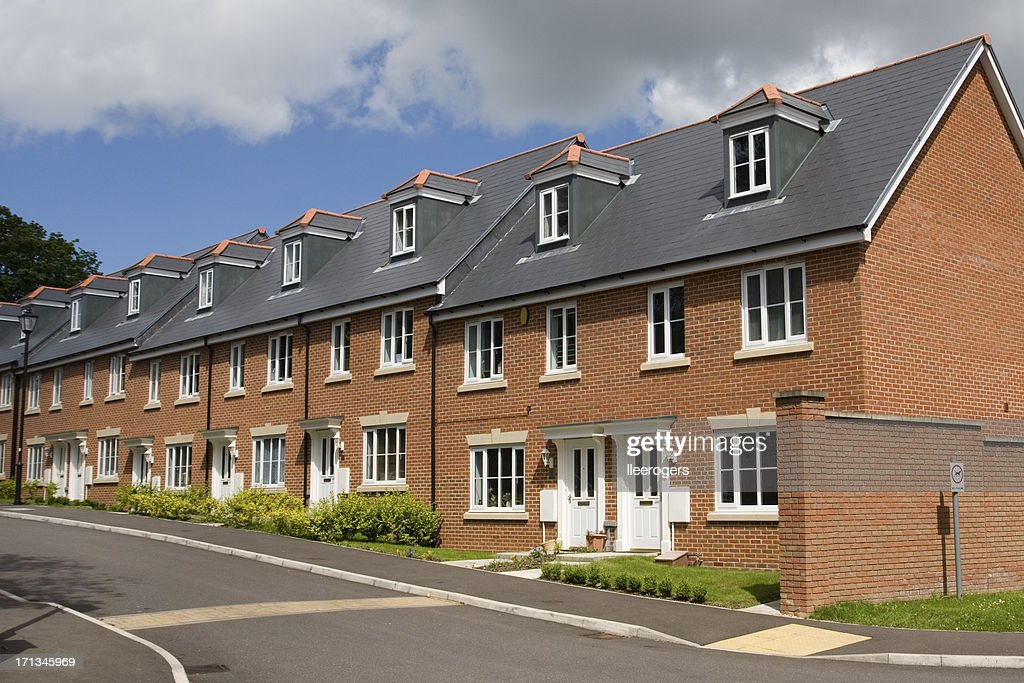 Terraced houses in England : Stock Photo