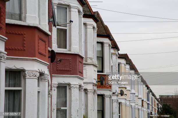 Terraced houses in London as pressure grows on the Chancellor of exchequer, Rishi Sunak for the stamp duty holiday to be extended in the UK Budget,...
