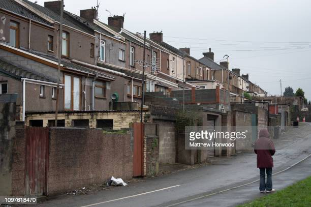 Terraced houses in Port Talbot on January 20 2019 in Port Talbot United Kingdom Port Talbot is home to Tata Steel steelworks which employs over 4000...