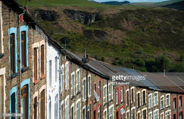 terraced houses of the rhondda valley - village stock pictures, royalty-free photos & images