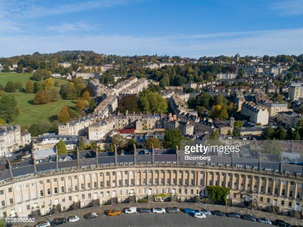 Terraced houses stand on the Royal Crescent in this aerial view in Bath, U.K., on Wednesday, Oct. 7, 2020. U.K. House prices rose at their strongest...