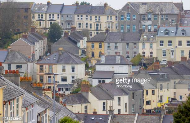 Terraced housing near the site of the Devonport freeport in Plymouth, U.K., on Thursday, March 4, 2021. U.K. Chancellor Rishi Sunak unveiled...