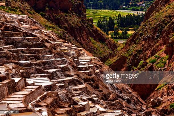 Terraced salt evaporation ponds at Salinas de Maras leading into canyon in Cusco region, Peru