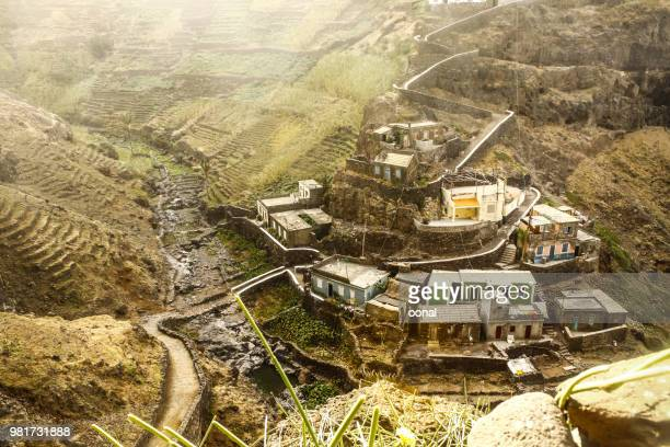 terraced valley landscape scenery with traditional village houses - cabo verde imagens e fotografias de stock