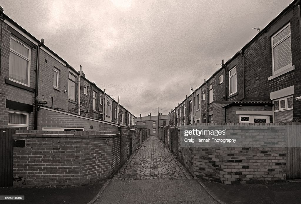 Terraces and cobbled streets : Stock Photo