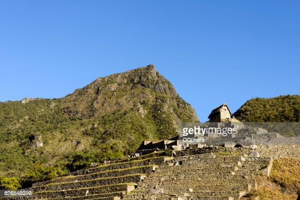 terraces and guard house at machu picchu, peru - ogphoto stock pictures, royalty-free photos & images