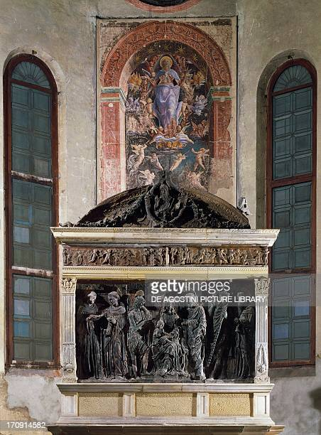 Terracotta altarpiece by Nicolo' Pizzolo 15th century and Assumption by Andrea Mantegna 15th century Ovetari Chapel Church of the Eremitani Padua...