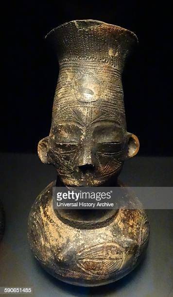 Terracotta anthropomorphic pot created by the Mangbetu people of the Orientale Province Democratic Republic of the Congo Dated 20th Century