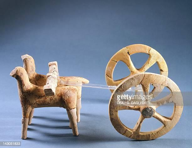 Terracotta chariot from a boy's tomb in the Fusco Necropolis near Syracuse Sicily Ancient Greek civilization Magna Graecia 6th Century BC Syracuse...
