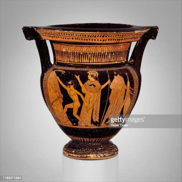 Terracotta columnkrater Classical circa 470460 bc Greek Attic Terracotta redfigure H with handles 11 1/2 in Vases Obverse Jason about to seize the...