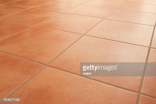 Terracotta Floor Tiles Clean Background Diminishing