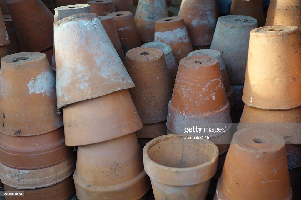 Terracotta Flowerpots : Stock Photo