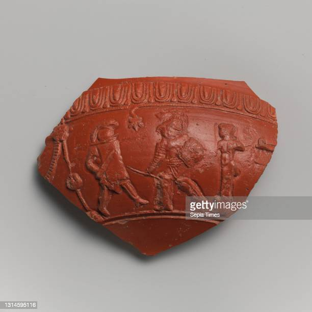 Terracotta fragment of a bowl, Mid-Imperial, Antonine, mid-2nd century A.D., Roman, Terracotta; mold-made, East Gaulish sigillata ware, H. 5 5/16 in....