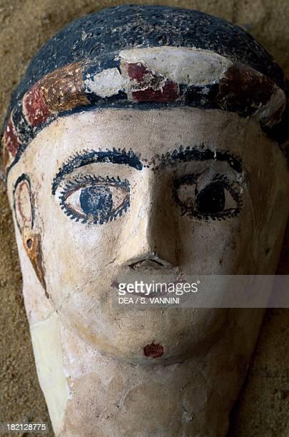 Terracotta funerary mask, Valley of the Golden Mummies, Bahariya Oasis, Giza, Egypt. Egyptian Civilisation, 1st century AD.
