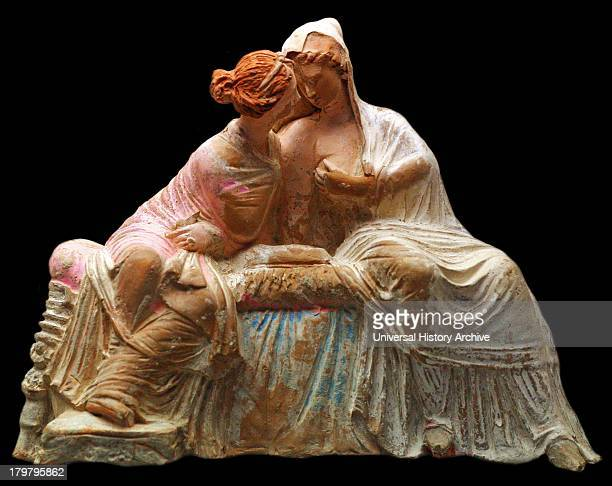 Terracotta group of two seated women perhaps Demeter and her daughter Persephone