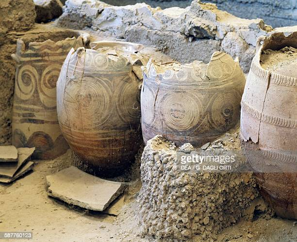 Terracotta pithoi archaeological site of Akrotiri Santorini island Greece Greek civilisation 20th17th century BC