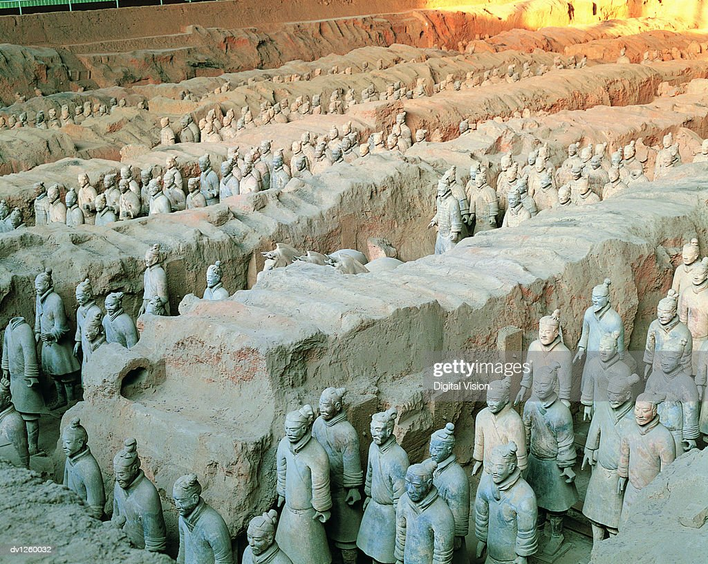 Terracotta Soldiers in Trenches, Mausoleum of Emperor Qin Shi Huang, Xi'an, Shaanxi Province, China : Stock Photo