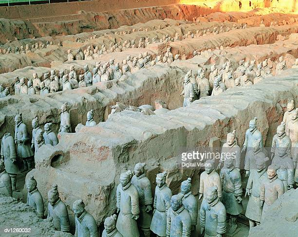 terracotta soldiers in trenches, mausoleum of emperor qin shi huang, xi'an, shaanxi province, china - ancient civilization stock photos and pictures