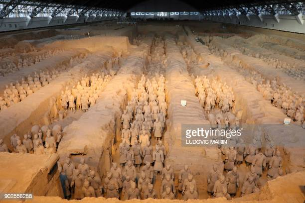 Terracotta warriors are seen at the Museum of Terracotta Warriors and Horses of Emperor Qin Shihuang in Xian in northwestern China's Shaanxi Province...