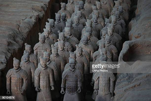Terracotta Warriors are seen at the No1 pit of the Qin Shihuang Terracotta Warriors and Horses Museum on August 26 2009 in Lintong District of Xian...