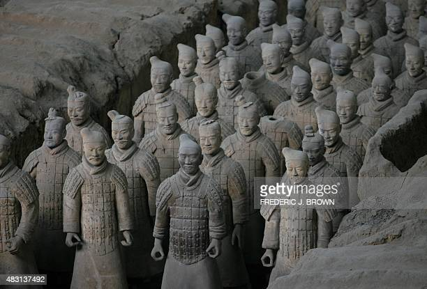 Terracotta Warriors from Pit 1 on display at the Terracotta Warrior Museum on the outskirts of Xian in China's northwest Shaanxi province 06 February...