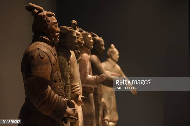 TOPSHOT Terracotta warriors from the burial complex of China's Emperor Qin Shi Huang are on show at the exhibition on China's First Emperor at the...