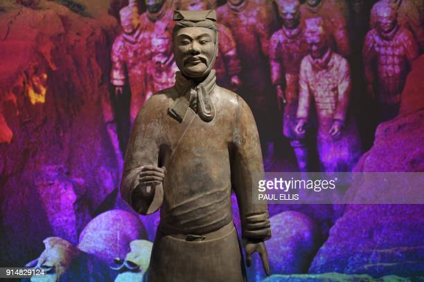 Terracotta warriors from the burial complex of China's Emperor Qin Shi Huang are on show at the exhibition on China's First Emperor at the World...