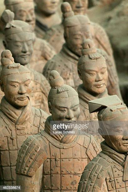 Terracotta warriors from the Terracotta army stand in Xi'an on April 14 2006 in Shaanxi province China The Terracotta Army contains the Terracotta...