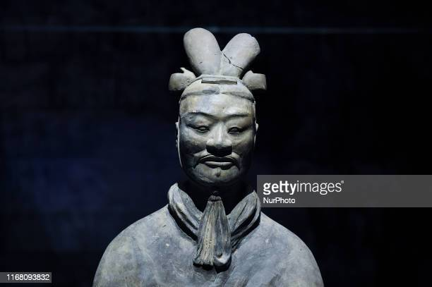 Terracotta Warriors on display as part of the China's First Emperor and the Terracotta Warriors exhibition at the Bangkok National Museum, Thailand....