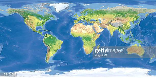terrain map of the world from satellite view - world map stock photos and pictures