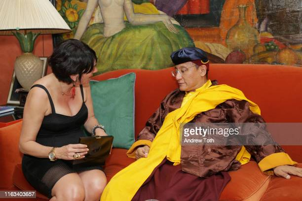 TerraMar's Ghislaine Maxwell and his holiness the Gyalwang Drukpa attend a reception at Ghislaine Maxwell's residence after StarTalk Live Water World...