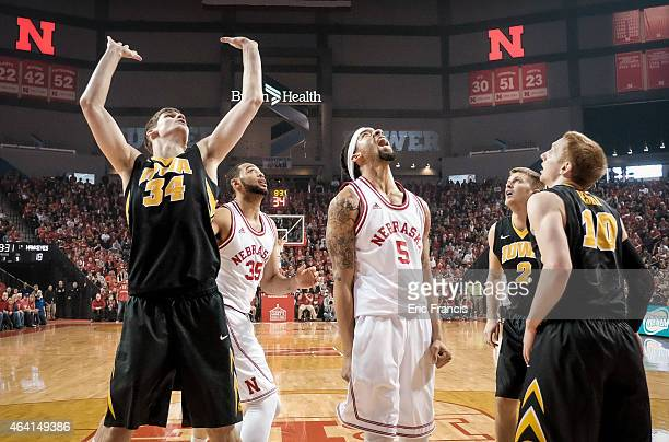 Terran Petteway of the Nebraska Cornhuskers reacts to a foul called on Adam Woodbury of the Iowa Hawkeyes during their game at Pinnacle Bank Arena...