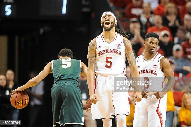 Terran Petteway of the Nebraska Cornhuskers reacts to a turnover during their game against the Michigan State Spartans at Pinnacle Bank Arena January...