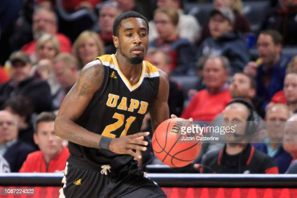 Terrance Banyard of the ArkansasPine Bluff Golden Lions passes the ball in the game against the Cincinnati Bearcats during the second half at Fifth...
