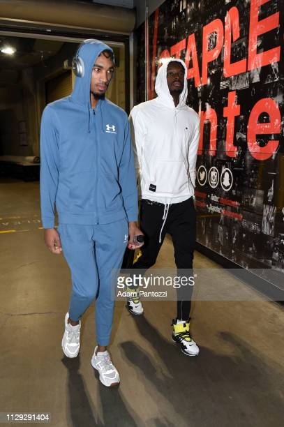 Terrance Ferguson and Jerami Grant of the Oklahoma City Thunder arrive before the game against the LA Clippers on March 8 2019 at STAPLES Center in...