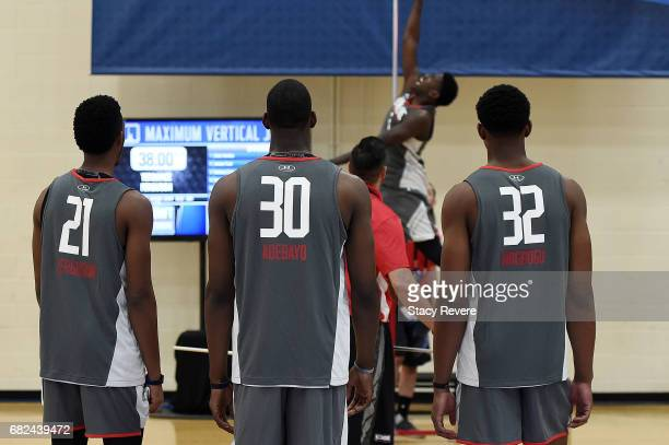 Terrance Ferguson Edrice Adebayo and Ike Anigbogu watches action during Day Two of the NBA Draft Combine at Quest MultiSport Complex on May 12 2017...