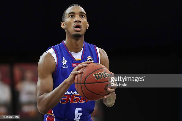 Terrance Ferguson of the 36ers shoots a free throw during the round eight NBL match between the Brisbane Bullets and the Adelaide 36ers at the...
