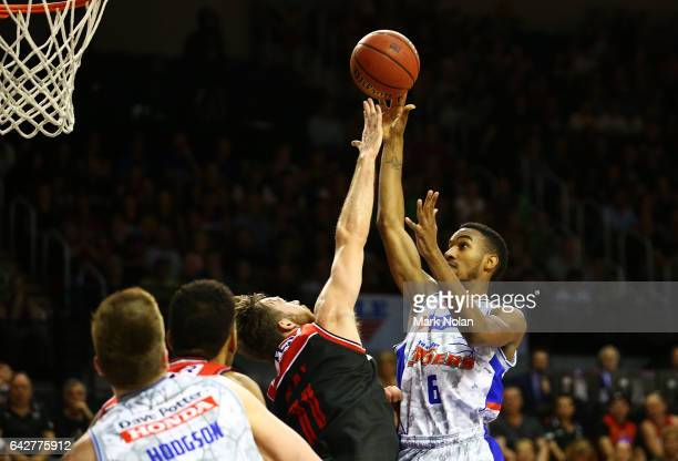 Terrance Ferguson of the 36ers shoots for the basket during the second NBL Semi Final match between Illawarra Hawks and the Adelaide 36ers at WIN...