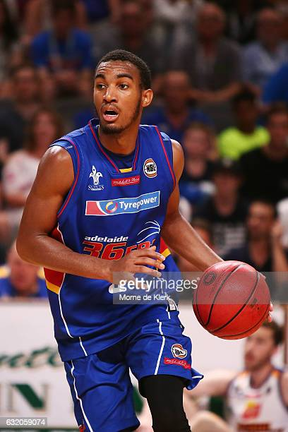 Terrance Ferguson of the Adelaide 36ers brings the ball forward during the round 16 NBL match between the Adelaide 36ers and the Brisbane Bullets at...