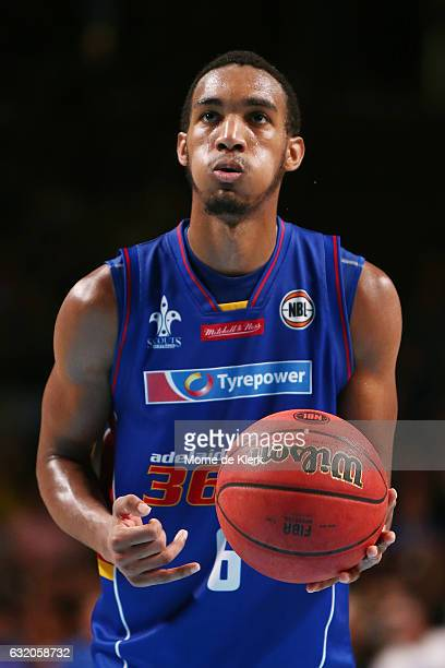 Terrance Ferguson of the Adelaide 36ers prepares to take a free throw during the round 16 NBL match between the Adelaide 36ers and the Brisbane...