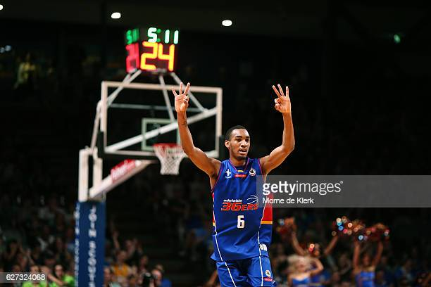Terrance Ferguson of the Adelaide 36ers signals after he shot a three pointer during the round nine NBL match between the Adelaide 36ers and the...