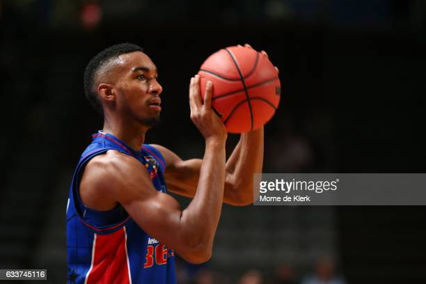 Terrance Ferguson of the Adelaide 36ers warms up before the round 18 NBL match between the Adelaide 36ers and the New Zealand Breakers at Titanium...