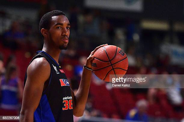 Terrance Ferguson of the Adelaide 36ers warms up prior to the round 16 NBL match between the Adelaide 36ers and the Sydney Kings at Titanium Security...