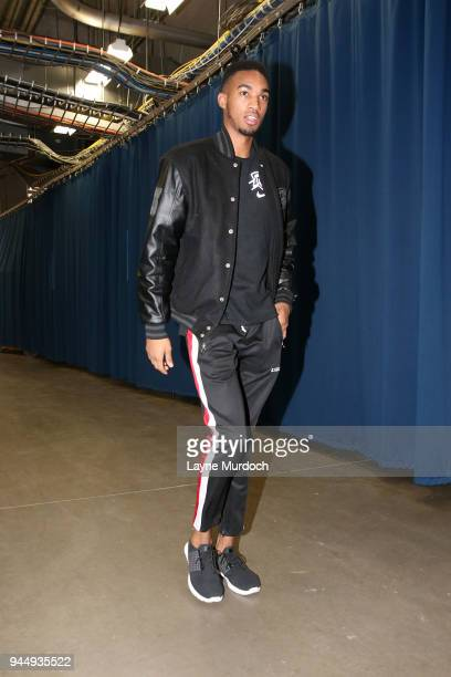 Terrance Ferguson of the Oklahoma City Thunder arrives before the game against the Memphis Grizzlies on April 11 2018 at Chesapeake Energy Arena in...