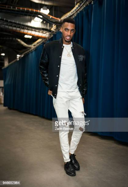 Terrance Ferguson of the Oklahoma City Thunder arrives to the arena prior to Game One of Round One of the 2018 NBA Playoffs against the Utah Jazz on...