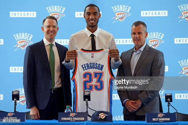 Terrance Ferguson of the Oklahoma City Thunder attends a press conference after being drafted with the 21st pick by the Thunder with general manager...