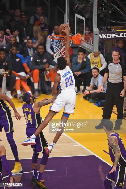 Terrance Ferguson of the Oklahoma City Thunder drives to the basket during the game against Brandon Ingram of the Los Angeles Lakers on January 2...